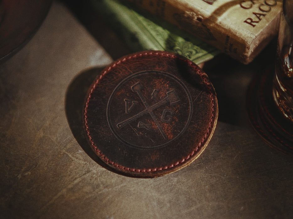 VG Leather Coasters - Set Of Four