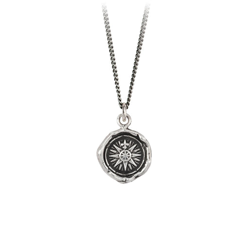 mens silver compass rose necklace