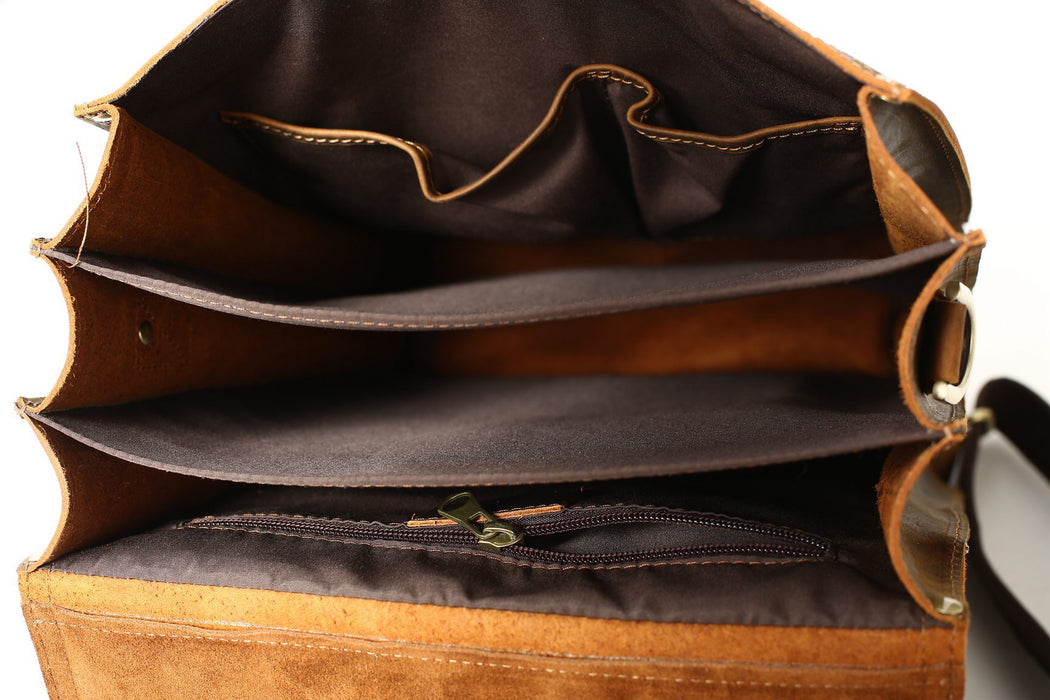 Vintage Leather Messenger Bag / Backpack
