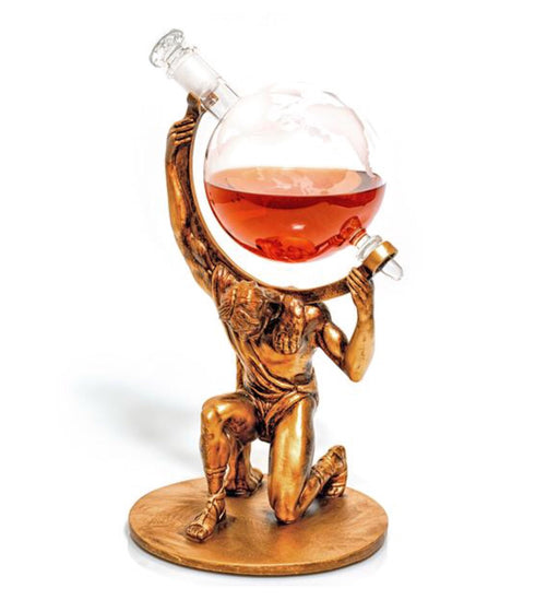 Atlas- Bearer Of Worldy Spirits- Etched Globe Decanter With Atlas Base
