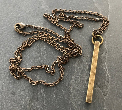 Brass Bar Pendant And Necklace