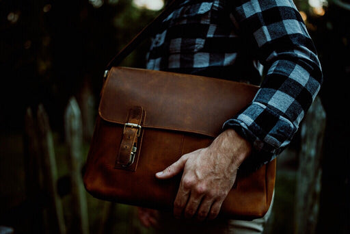 """The Courier"" Vintage Leather Messenger Bag"