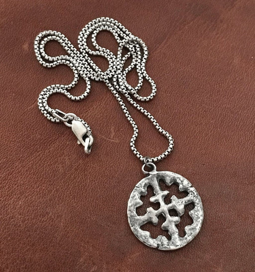 viking cross silver necklace