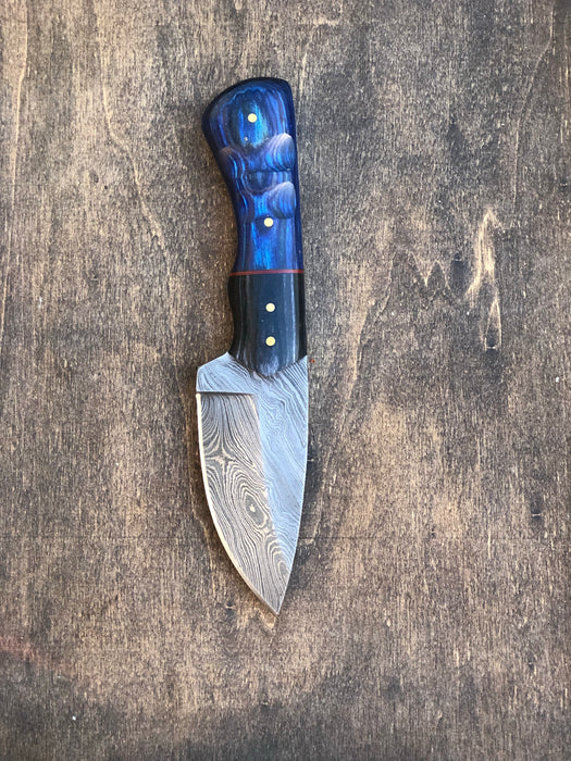 Small Skinner with Blue and Black Micarta Handle