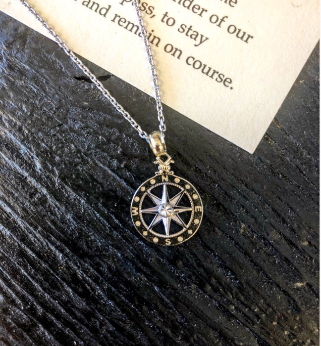Women's 14kt White/Yellow Gold Compass Rose Pendant