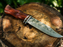 Damascus Steel And Rosewood Hunting Knife -VG 60