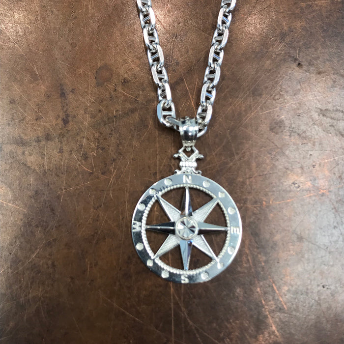Men's Compass Rose Pendant With Optional Silver Necklace