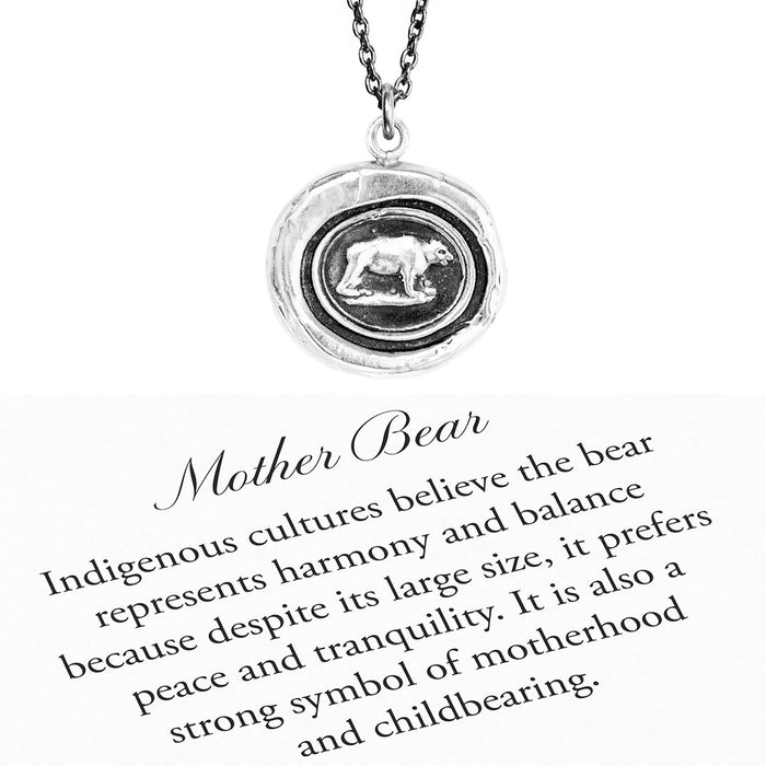 """Mother Bear"" Reclaimed Silver Talisman And Necklace - Pyrrha"