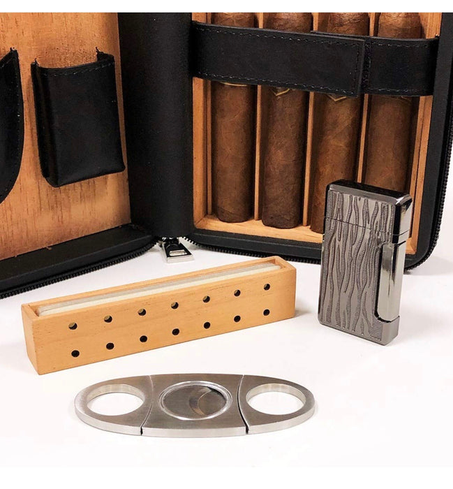 leather cigar humidor and cutter