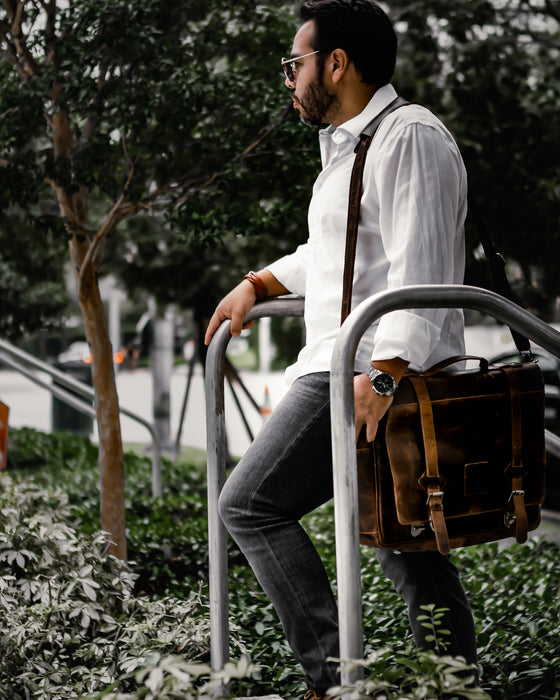 "The ""Lewis"" Buffalo Leather Messenger Bag"