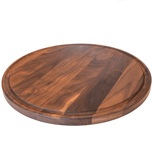 Virginia Boys Kitchens Cutting Board 13.5 Inch Round Walnut Cheese Board with Groove