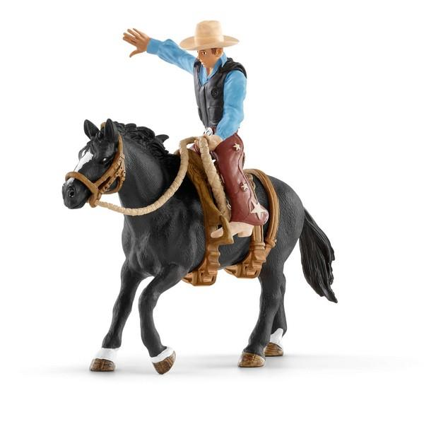 Schleich Saddle Bronc Riding with Cowboy (41416) | Bumble Tree