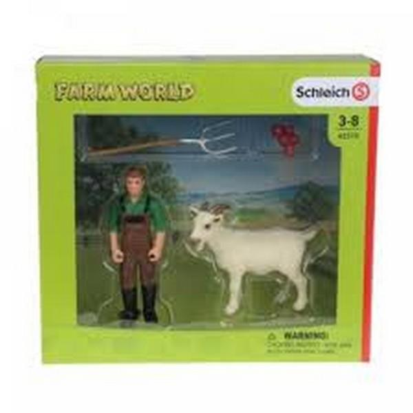 Schleich Farmer With Goat (42375)