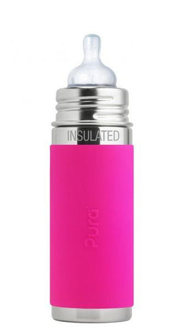 Pura Insulated 260ml Infant Bottle Pink