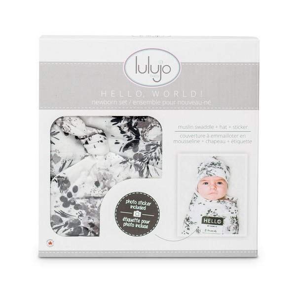 Lulujo Hello, World Newborn Set Black Floral | Bumble Tree
