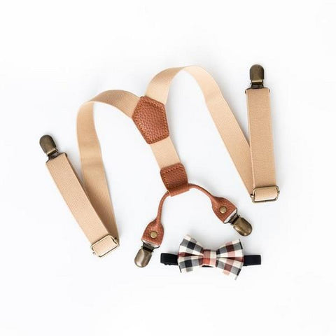Lox Lion Suspenders and Bow Tie Set Beige