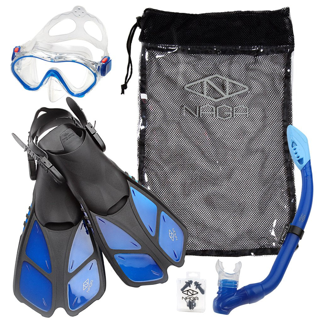 ELEMENTEX Naga Sports Series Kids Snorkel Set with Dry Top Snorkel, Single Lens Mask, Trek Fins, Mesh Bag - Blue