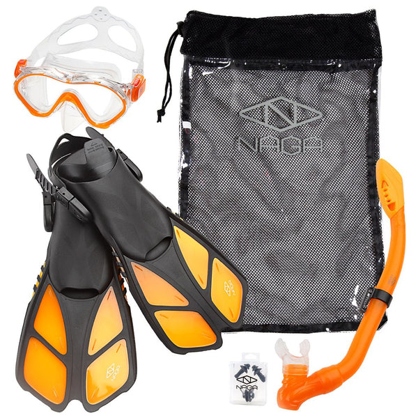 ELEMENTEX Naga Sports Series Kids Snorkel Set with Dry Top Snorkel, Single Lens Mask, Trek Fins, Mesh Bag - Orange