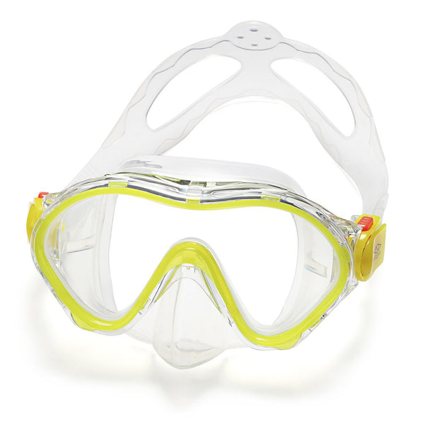 ELEMENTEX Naga Sports Series Kids Snorkel Set with Dry Top Snorkel, Single Lens Mask, Trek Fins, Mesh Bag - Yellow