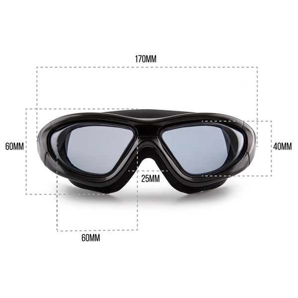 ELEMENTEX Naga Sports Series Diver Swimming Goggles - Anti Fog Anti Shatter Leakproof Waterproof with UV Protection for Men Women Children Adults - Black