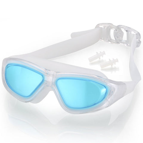 ELEMENTEX Naga Sports Series Diver Swimming Goggles - Anti Fog Anti Shatter Leakproof Waterproof with UV Protection for Men Women Children Adults - Light Blue