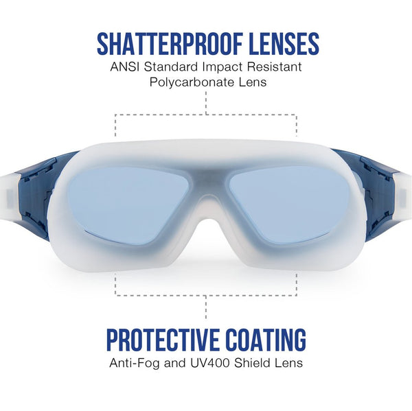 ELEMENTEX Naga Sports Series Diver Swimming Goggles - Anti Fog Anti Shatter Leakproof Waterproof with UV Protection for Men Women Children Adults - Blue and Gray