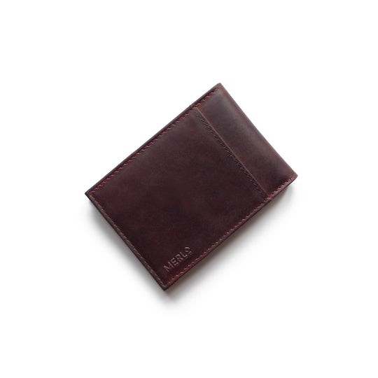Smart leather wallet with RFID blocker and outer pockets for easy contactless card payments