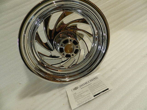 NOS OEM NEW 08 AND NEWER HARLEY SOFTAIL FX CHROME TYPHOON REAR WHEEL 40884-08