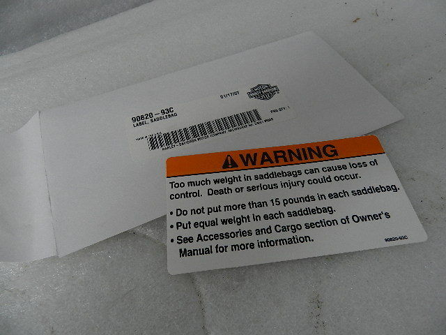 NOS NEW OEM HARLEY SADDLEBAG LABEL 90820-93C