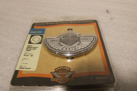 NEW OEM NOS HARLEY 100TH ANNIVERSARY LARGE MEDALLION 91747-03