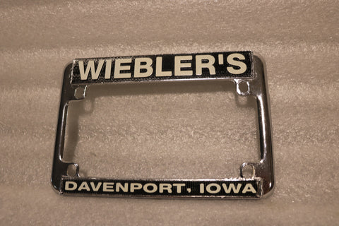 ORIGINAL HARLEY METAL LICENSE PLATE BRACKET FRAME WIEBLER'S DAVENPORT IOWA