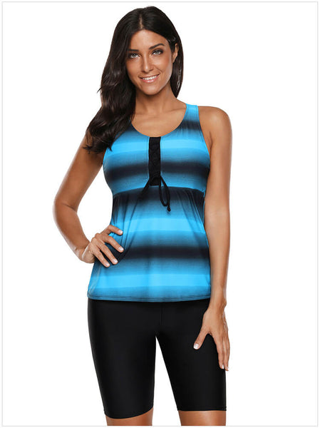 Strappy Hollow-Out Back Tankini Swimsuits For Women