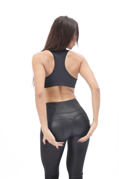 2019 Mid/High Waist Black-Matte Eco-Leather Pants Lifts & Supports