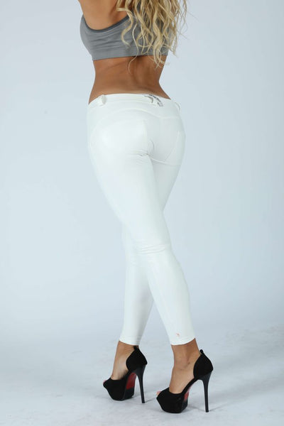 2019 Low/High Waist White Color Eco-Leather Pants With A Built-in Tush Trainer X Edition™ Lifts & Supports