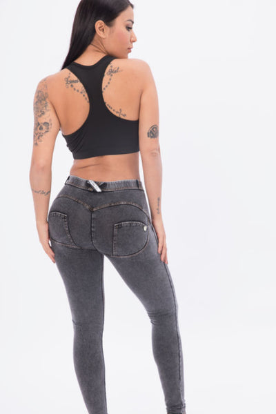 2020 Mid Waisted Grey Denim Jeans With Built-in Hiney Trainer X™ Lifts & Supports For A Flattering Fit