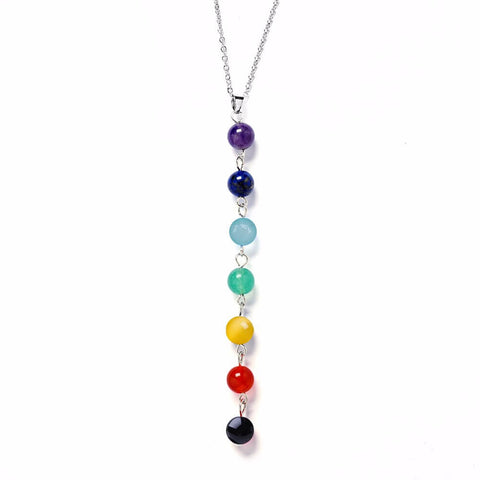 7 Chakra Gem Stone Beads Women Pendant Necklace