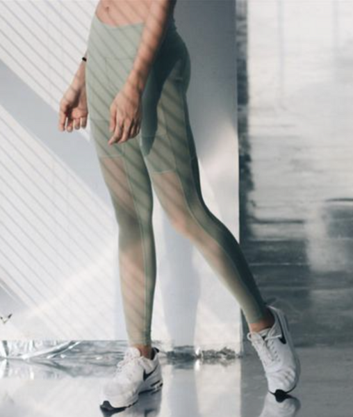 Olive Green Mesh Sports Leggings