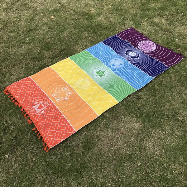 Bohemia Wall Hanging India Mandala Blanket 7Chakra Colored Tapestry
