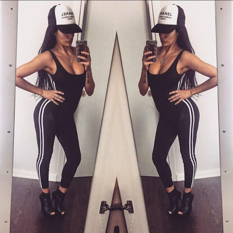 Sexy Backless Elastic Waist Sleeveless Sports Long Jumpsuit