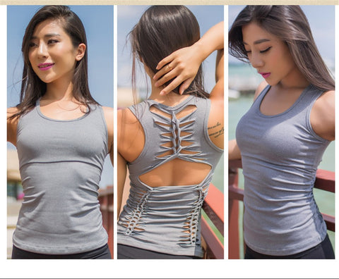 Cut out Yoga Tank Top With Built-in bra  Active Workout Fitness Top