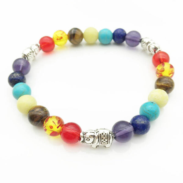 7 Chakra Elephant Char Bracelets For Women