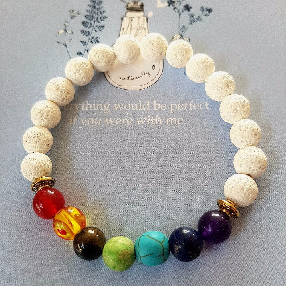 7 Chakra Weave White Lava Beads Bracelet Men Women Best Yoga Store
