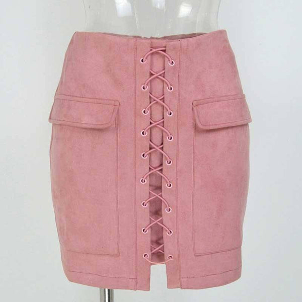 2019 Lace-Up Suede Skirt
