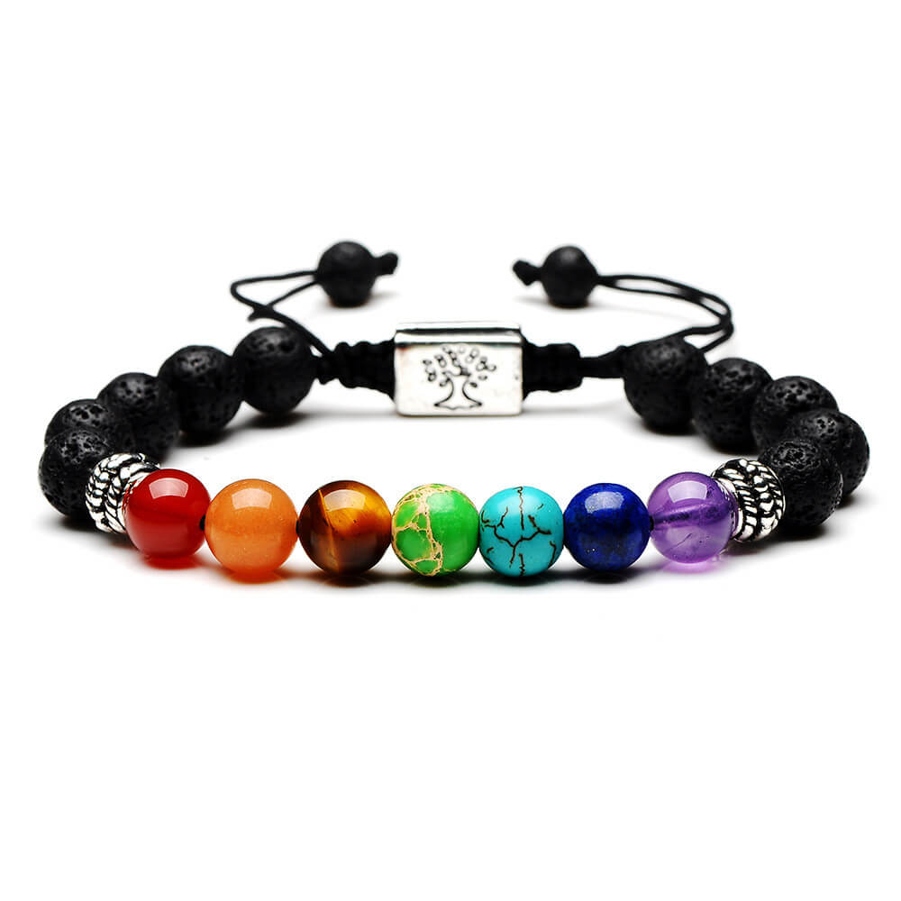 Women Men 7 Chakra Tree Of Life Charm Bracelets Lava Stones