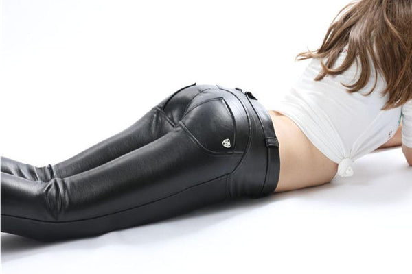 Mid Waist Eco-Leather Pants With A Built-in Tush Push up Trainer X Edition™ Lifts &Supports - Flattering Fit