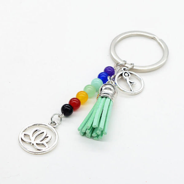 Crystals Stone 7 Chakra Key Chain Ring Pendant For Bag
