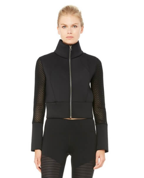 Shell Jacket's cropped bomber style scuba-inspired double-face fabric