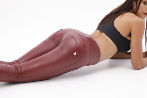 2019 Low/High Waist Red Wine Color Eco-Leather Pants With A Built-in Tush Trainer X Edition™ Lifts & Supports
