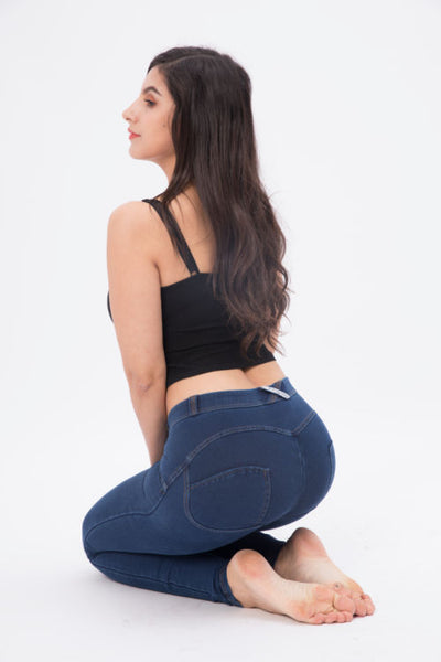 2019 Low Waisted Dark Blue Denim Jeans With Built-in Hiney Trainer X™