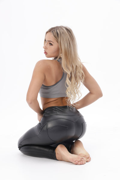 2020 Mid/High Waist Black Eco-Leather Lifts &Supports - Flattering Fit